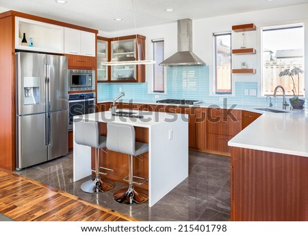 Beautiful Kitchen in New Luxury Home - stock photo