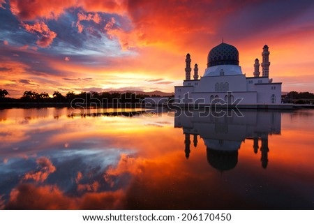 Beautiful Kota Kinabalu city mosque at sunrise in Sabah, Malaysia, Borneo - stock photo