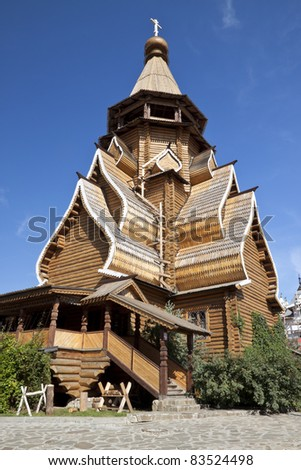 Beautiful kremlin in Izmailovo, A wooden church in the Kremlin. Moscow, Russia - stock photo