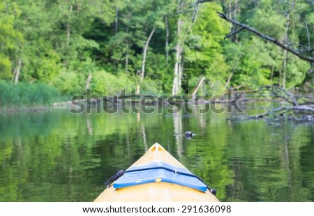 Beautiful Krutynia river landscape photographed from kayak. - stock photo