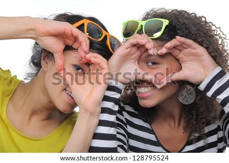 Beautiful ladies having fun - stock photo