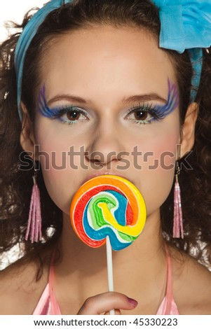Beautiful lady and colorful candy