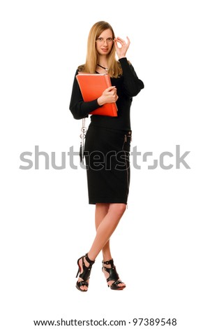 Beautiful lady with the folder. Isolated on white - stock photo