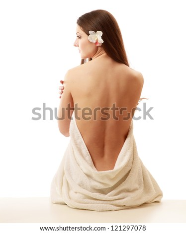 beautiful lady with white towel on white background
