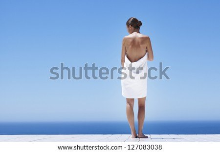 beautiful lady with white towels - stock photo