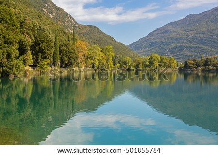 Beautiful Lago di Santa Massenza Lake in Santa Massenza, Trento during Autumn season in Italy, Europe