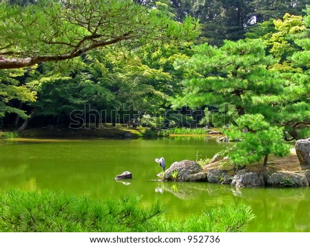 Beautiful lake at Golden Pavilion in Kyoto Japan