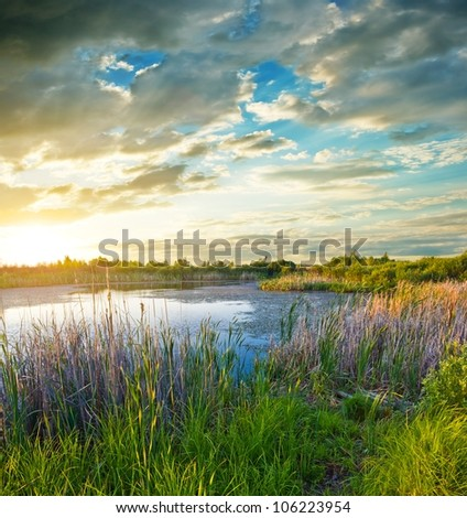 beautiful lake at the evening - stock photo