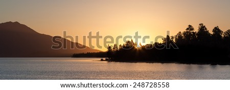 Beautiful Lake Brunner at Sunset , South Island, New Zealand. - stock photo