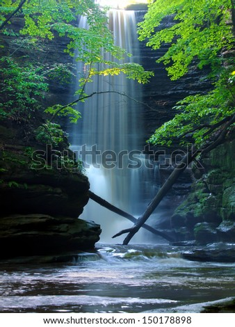 Beautiful Lake Falls at Matthiessen State Park in central Illinois - stock photo