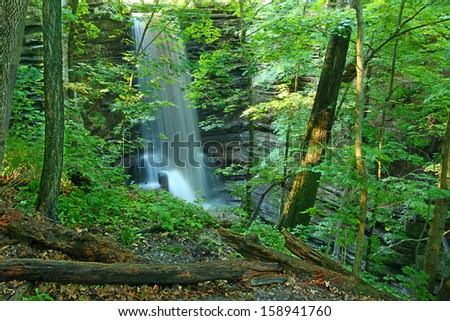 Beautiful Lake Falls seen through the woodlands of Matthiessen State Park in central Illinois - stock photo