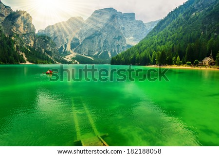 Beautiful lake in the Dolomites,Trentino Alto Adige,Italy - stock photo