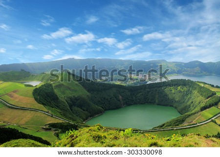 Beautiful lake of Sete Cidades, Azores, Portugal Europe  - stock photo