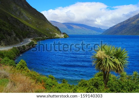 Beautiful lake shore in South Island, New Zealand