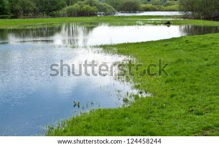 Beautiful lake - tranquil summer landscape - stock photo