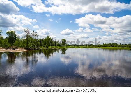 Beautiful lake view, North Ukraine - stock photo