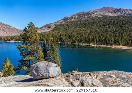 Beautiful lake view Yosemite National park, California - stock photo