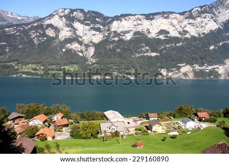 Beautiful Lake Walensee in the Alps, Switzerland - stock photo