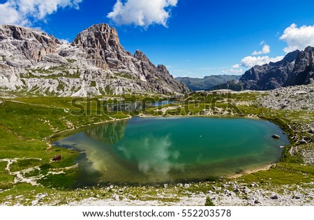 Beautiful lakes in Three Peaks Natural Park (Parco Naturale Tre Cime) in Dolomiite, Italy.