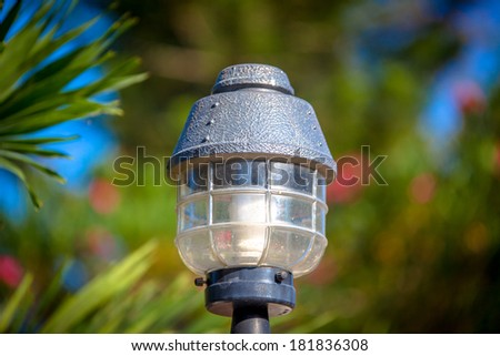 Beautiful lamp lantern in the park