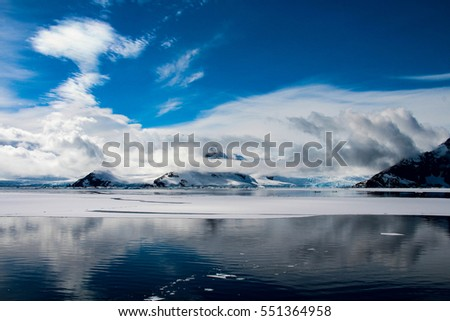 Beautiful landscape and scenery through the Lemaire Channel in Antarctica
