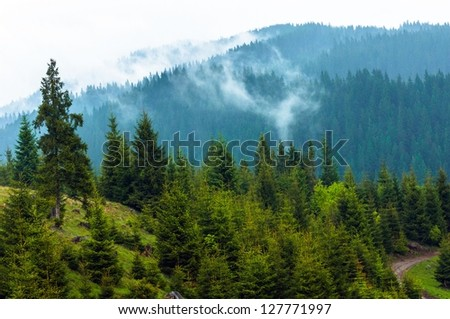 Beautiful landscape at the mountains with clouds