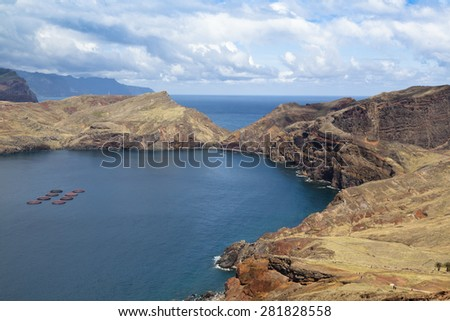 Beautiful landscape at the north coast of Ponta de Sao Lourenco, the easternmost part of Madeira Island, Portugal - stock photo