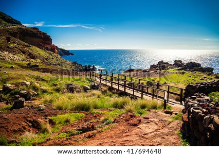 beautiful landscape at the Ponta de Sao Lourenco, the eastern part of Madeira, Portugal - stock photo