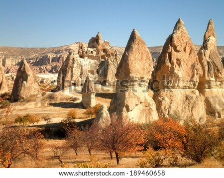 Beautiful landscape Cappadocia abandoned castle.