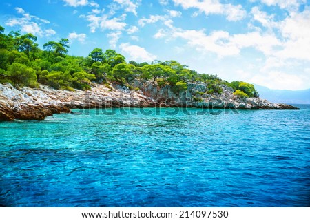 Beautiful landscape, clear blue sea, rocky seashore and fresh green trees on it, touristic place, panoramic scene, summer holidays concept - stock photo