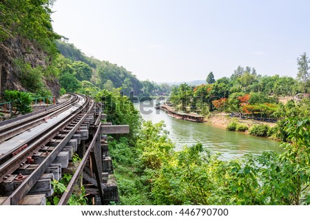Beautiful landscape Death Railway bridge over the Kwai Noi River at Krasae cave in Kanchanaburi province Thailand