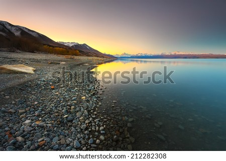 beautiful landscape during journey to new zealand during sunset, evening and morning - stock photo