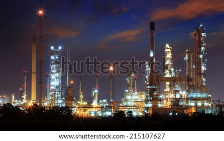 beautiful landscape dusky sky of heavy industry oil refinery plant with dazzling lighting