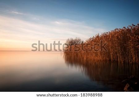 Beautiful landscape from a lake Balaton ,(Hungary) - stock photo