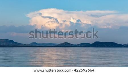 Beautiful landscape from lake Balaton in Hungary - stock photo