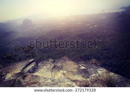 beautiful landscape from mountain peak rock,thailand - stock photo