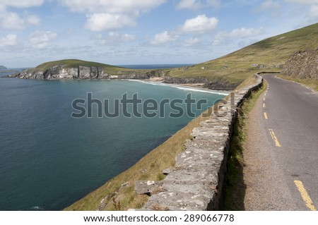 Beautiful landscape from road in Dunquin bay, Ireland - stock photo