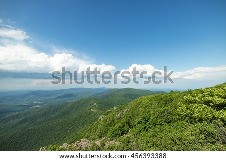 Beautiful landscape full of lush green forest and clear blue sky with white clouds in Shenandoah National Park, Virginia, USA - stock photo