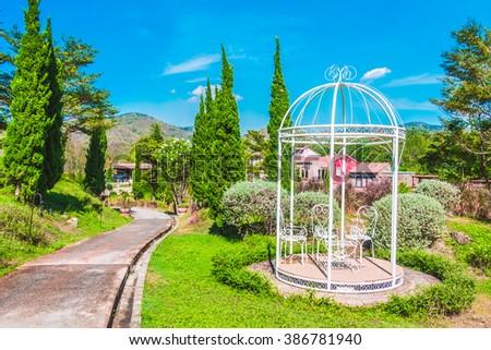 Beautiful landscape Garden park - Filter effect - stock photo