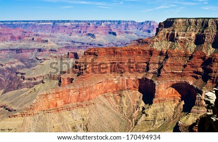 Beautiful landscape, Grand Canyon, Arizona, USA. The Grand Canyon is a steep-sided canyon carved by the Colorado River in the United States in the state of Arizona. - stock photo