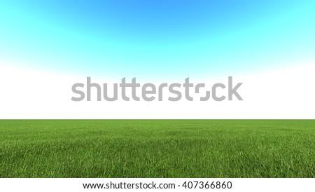 Beautiful landscape, grass clean blue sky - stock photo