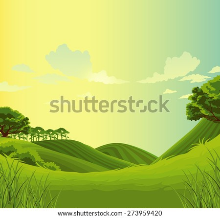 beautiful  landscape green meadow  - stock photo