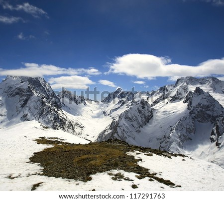 Beautiful landscape high of Caucasus Mountains Dombai