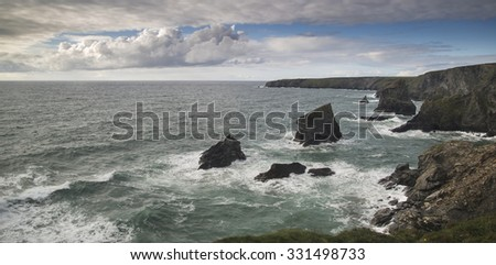 Beautiful landscape image of Bedruthan Steps on Cornwall coast in England