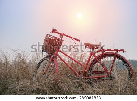 beautiful landscape image with vintage bicycle at sunset ; vintage filter style