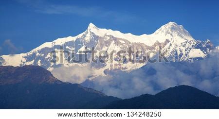 Beautiful landscape in Himalayas, Annapurna area, Nepal - stock photo