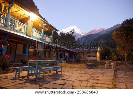 Beautiful landscape in Himalayas at the sunrise time, Annapurna area, Nepal  - stock photo
