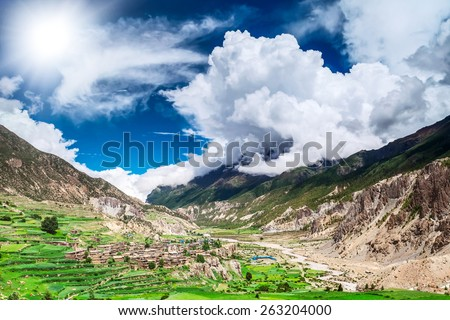 Beautiful landscape in Himalayas mountains, Annapurna area. - stock photo