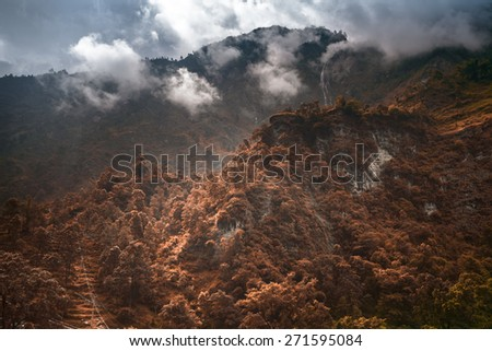 Beautiful landscape in Himalayas mountains, Annapurna area. Bright colors, pristine nature. Nepal - stock photo