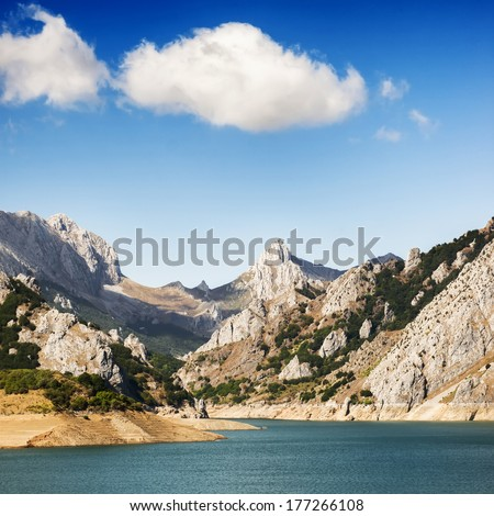 Beautiful landscape in Riano reservoir, Leon, Spain  - stock photo